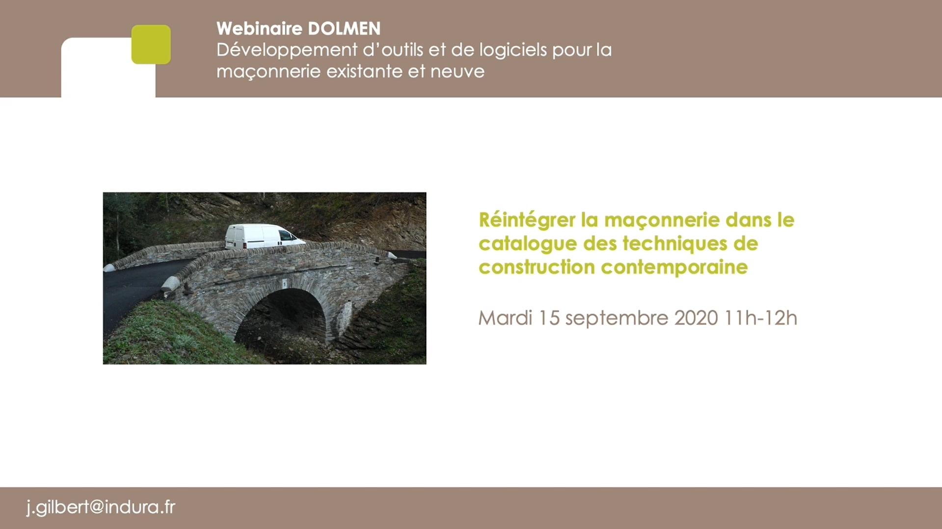 [Webinar] Projet DOLMEN : réintégrer la maçonnerie dans le catalogue des techniques de construction